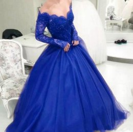 Royal Blue Beads Tulle Evening Dresses 2019 Illusion Lace Long Sleeve Formal Party Gowns Sexy V Neck Prom Dresses Long Quinceanera Ball Gown