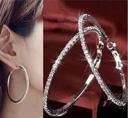 12pairs lot 40,50,60,70mm Free Shipping Wholesale Fashion Earring girl's Crystal Crystal Hoop Earring Big Hoop Earring