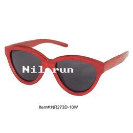 luxury cat eye red wood sunglasses