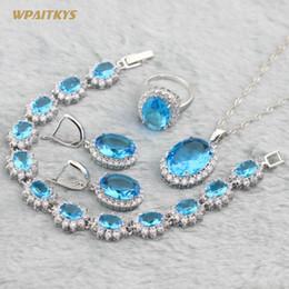 Light Blue Wedding Jewelry Sets - Wholesale Oval AAA Zircon Silver Plated Pendant Necklace Earrings Ring Bracelet For Women Rings Size 6-10