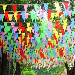 80m Coloured Conical Slik Flags and Banners Bunting Banner Flag Garland Party Decoration Start Business Decor free shipping 2018 new hotsale