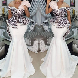 2019 Nigerian Mermaid Evening Dresses Black Appliques Peplum Abiye Formal Evening Gowns Beaded Floral Prom Dresses Long Robe Robe De Soiree