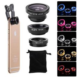 universal cell phone clip lens kit 3 in 1 fish eye 180 degree + 0.67X wide lens + macro lens + clip