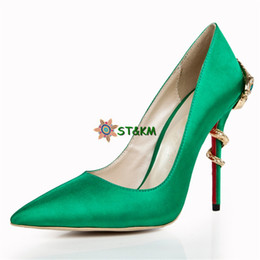 Hotsale - 2018 Hot Seller Green Eye Snakes Party Bride Dress Shoes Women High Heel Wedding Shoes S2