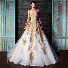 Abiye Hot Selling Evening Dresses Rami Kadi Sweetheart Golden Appliques Beaded Crystal Accented White A-Line Formal Prom Dresses New Fashion