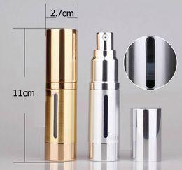 Luxury 15ml  0.5oz aluminum Empty refillable Airless Lotion bottle Pump Cosmetic Dispensing Bottles For gels, lotions, liquid makeup, etc.