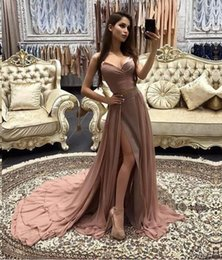 Two-Pieces Chiffon Prom Dresses 2018 New Court Train Split Side Formal Evening Wear Custom Made Red Carpet Gowns