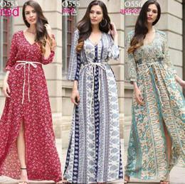 New Euro Style women clothes V neck Chiffon Flower Print dress lady casual long sleeve swing beach Split dress