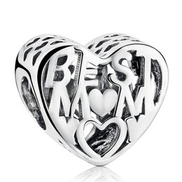 Best Mother Charms Bead 925 Sterling Silver Vintage Mom Heart Beads For Jewelry Making DIY Mother Day Gift Bracelets Accessories HB619