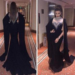2018 Beaded Crystals High Neck Black Mermaid Prom Dresses Sheer Neck Muslim Saudi Arabia Formal Evening Prom Gowns with Wrap Party Dresses