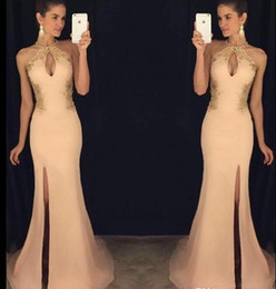 Halter champagne evening dresses side split long chiffon sexy appliques formal woman evening gowns 2018 new arrival prom dresses