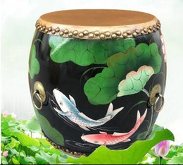 The new Chinese wooden drum stool stool Embroidered Leather painted American sofa stool