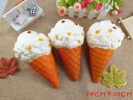 DHL Free Jumbo Squishy Large Ice Cream Cone 19cm Slow Rising Relieve Stress Cake Sweet Animal PU Cell Phone Strap Phone Pendant Key Chain