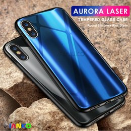 Luxury Aurora Gradient Color Case for iPhone X Hard Plating Colorful Shining Tempered Glass Back Cover for iphone X 8-7-6 Plus Protector