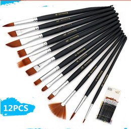 12Pcs Paint Brushes Set Nylon Hair Painting Brush Variety Style Short Rod Oil Acrylic Brush Watercolor Pen Art Supplies free shipping 2018