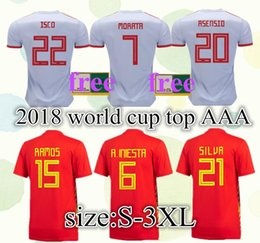 S-3XL 2018 Spain Soccer Jersey World Cup home away INIESTA RAMOS MORATA ISCO Spain national Football Shirts ASENSIO SILVA camiseta de fútbol