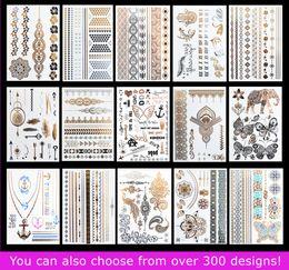 15pcs lot Temporary Waterproof Flash Tattoos Non-toxic Metallic Tattoo Hot Sale Women Tattoo Jewelry And Body Tattoo!