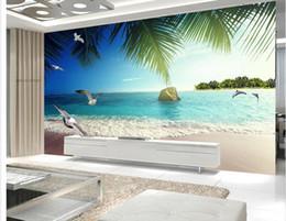 Custom Photo Wallpaper 3D Stereo Original Romantic Dolphin Bay Lovers Beach Sea 3D Living Room TV Background Wall Living Room Wallpaper 3D