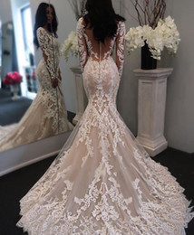New Illusion Long Sleeves Lace Mermaid Wedding Dresses Tulle Applique Court Bridal Formal Gowns Zipper with Button Back Wedding Dress
