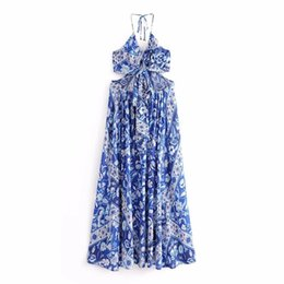 NEW WOMEN CLOTHES O-NECK BACK HOLLOW OUT FLOER PRINT DRESS ELEGANT CASUAL SLEEVELESS BEACH LONG DRESS FREE SHIPPING