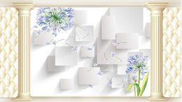 Custom Photo Wallpaper 3D Stereo Original European Roman column soft bag hyacinth TV background wall Home Decor Living Room Wall Cov