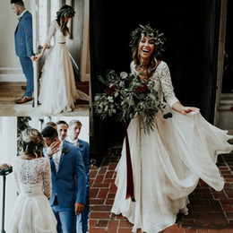 2019 Beach vestido de novia Cheap Wedding Dresses A-Line Chiffon Ruffle Lace Top Summer Wedding Gown Custom Made Bohemian Bridal Gowns