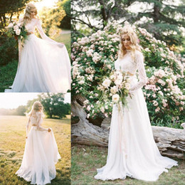 Romantic Two Pieces Bohemian Wedding Dresses With Long Sleeves Lace Crop Top Chiffon Country Wedding Gowns Custom Made Beach Bridal Dresses