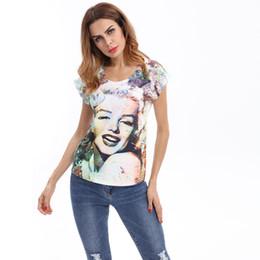 2018European and American new printed color code slim T-shirt.