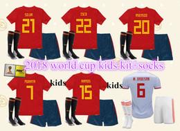 2018 world cup Spain Kids kit soccer jerseys football Kits kids uniform with socks camisetas de futbol MORATA ASENSIO ISCO SILVA RAMOS