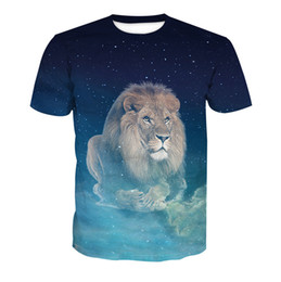 Wholesale Free Shipping Summer Style Women Men Cotton T Shirt Fashion 3D Sublimtaion Printed Blue Lion Tee Top Shirt