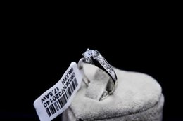 Anniversary 18K white gold gild wedding ceremony ring size 6 T255