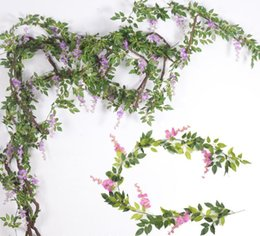 Silk Wisteria Flower Vine Artificial Wisteria Flower Rattans with Green Leafs for Wedding Photography Christmas Home Decorative Flowers