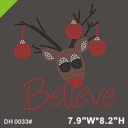 Free shipping Christmas Reindeer Believe Crystal Iron On T Shirt Design Transfer DH0033#