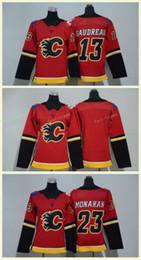 2018 Calgary Flames #13 Johnny Gaudreau Jerseys 23 Sean Monahan Red Ladies Boys Hocekey Jerseys Home Premire Men Women Youth Kids