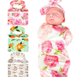 Newborn Baby Swaddling Blankets with Bunny Ear Headbands Baby Floral Swaddle Wrap Blanket Hairbands Baby Cotton wrap cloth Set BHB11