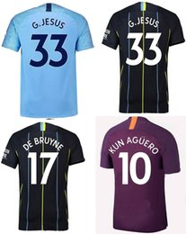 18 19 Manche City Soccer Jerseys KUN AGUERO DE BRUYNE Football Shirts 2019 G.JESUS MAHREZ SANE Soccer Shirts Mens Top Quality Sport Uniforms