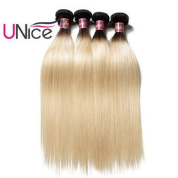 UNice Hair Brazilian Peruvian Wholesale 8A Remy Straight Ombre Hair Bundles T1B 613 Two Tone Bulk 100% Human Hair Extensions Cheap Weaves