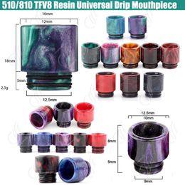Top 510 810 TFV8 Epoxy Resin Drip tips Wide Bore Dripper tip Mouthpiece for TFV12 Beast Prince Tank RBA Atomizer e cigarettes Vape Mod RDA