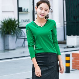 Women Spring Cotton Long Sleeve Sheer Butterfly Mesh-patched T-shirts Girls Casual Stars Black Femme Clothing Ladies Green Tops Tee 3XL