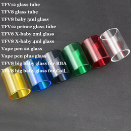 TFV12 TFV8 Big baby 3ml TFV12 Prince TFV8 X-baby 2ml 4ml Vape Pen 22 Plus for RBA Coil Replacement Pyrex Glass Tube DHL