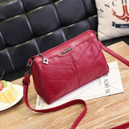 High quality 2018 summer women shoulder bag soft pu leather female handbag black red causal crossbody bag cheap wholesale
