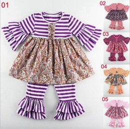 Fashion stripe cotton floral girl clothes wholesale new style flutter ruffle dress clothing suits