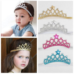 Baby Girls Headbands Sparkle Crowns Kids Grace crown Hair Accessories Tiaras Headbands With Star Rhinestone Hair Accessories 4 Colors KHA91