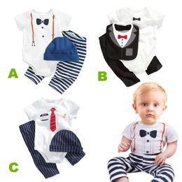 Newbornl baby boys clothes shirt pants hat bib 3pcs outfits toddler gentleman style bodysuits rompers long pants black blue high quality