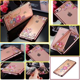 For iphone X 8 Plus cell phone cases Premium Bling Rhinestone butterfly flower back protective cover shell For iPhone 5S 6S 7 Plus