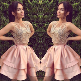 2018 Short Blush Pink Two Piece Homecoming Dresses A Line Sleeveless Backless Mini Cocktail Dress Prom Party Gowns Custom Lace