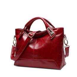 designer luxury handbags fashion with oil wax leather shoulder bags red for women
