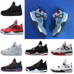 with box Travis 4 Cactus Jack men Basketball Shoes Raptors White Cement Black cat Bred Fire Red Pure Money Sports Sneakers us 8-13