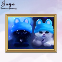 Joyo, DIY cross stitch embroidered diamonds, couple cats, nice eyes, home decor, perfect design, beautiful gifts