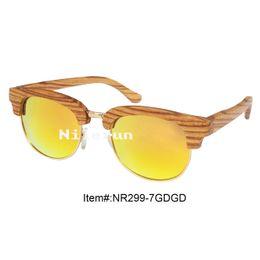 hot sale orange polarizing lens shiny gold metal full frame zebra wood half frame sunglasses